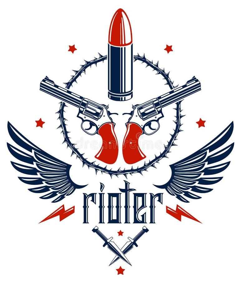 Les balles et les armes ? feu dirigent l'embl?me de la r?volution et la guerre, le logo ou le tatouage avec un bon nombre d'?l?me illustration stock