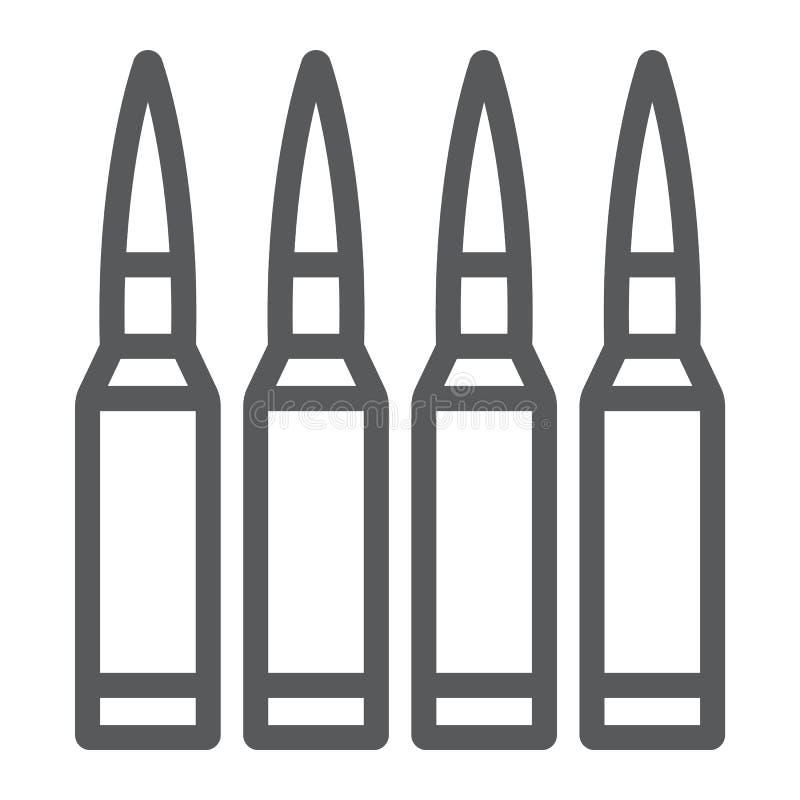 Les balles rayent l'icône, les munitions et l'armée, signe de calibre, les graphiques de vecteur, un modèle linéaire sur un fond  illustration libre de droits