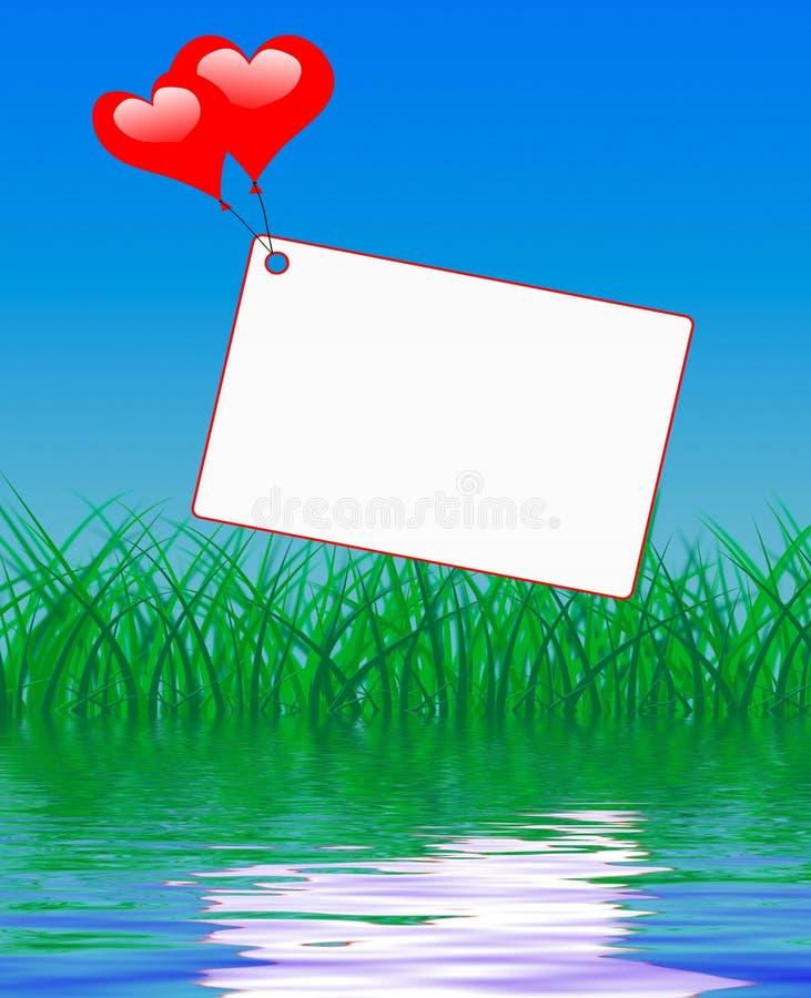 Les ballons de coeur sur la note montre l'affection et la passion illustration de vecteur