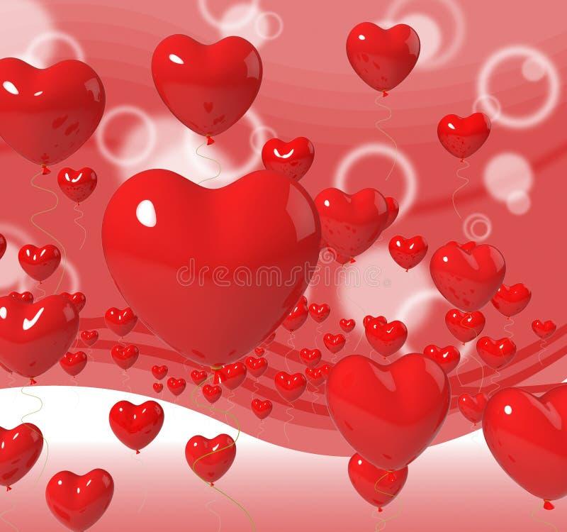 Les ballons de coeur sur le fond signifie la passion illustration stock