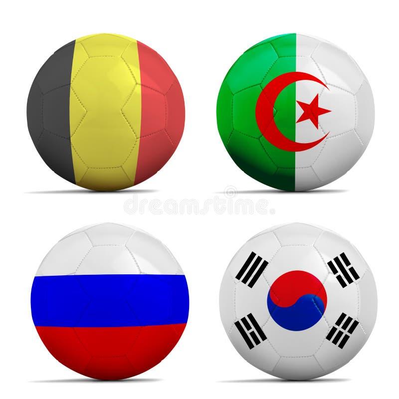 Les ballons de football avec le groupe H teams des drapeaux, le football Brésil 2014. photographie stock libre de droits