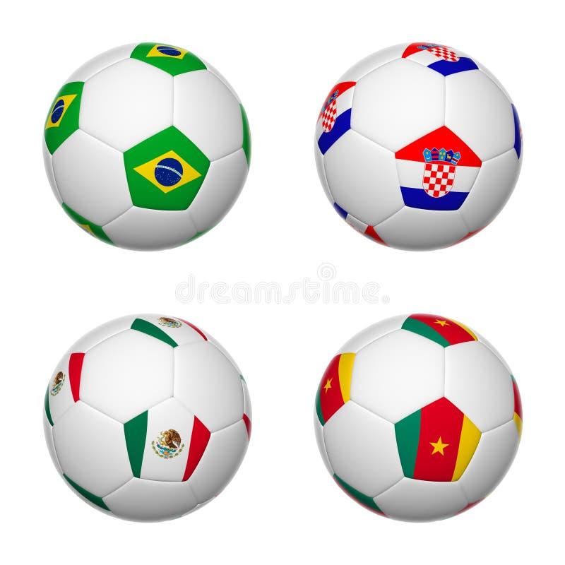 Les ballons de football du Brésil 2014, groupent A illustration libre de droits