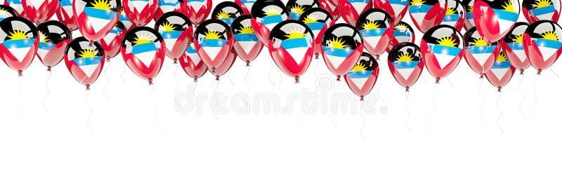 Les ballons encadrent avec le drapeau de l'Antigua et du Barbuda illustration stock