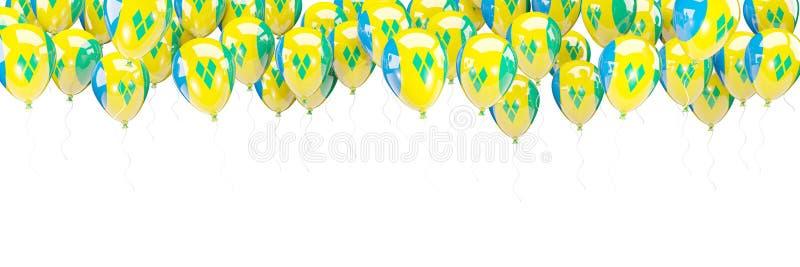 Les ballons encadrent avec le drapeau du Saint-Vincent-et-les Grenadines illustration libre de droits