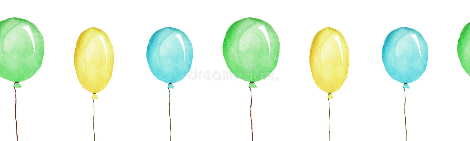 Les ballons multicolores, patternn sans couture, illustration d'aquarelle ont isolé illustration de vecteur