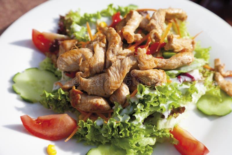 Les bandes de blanc de dinde avec la salade mixte, se ferment  photo libre de droits