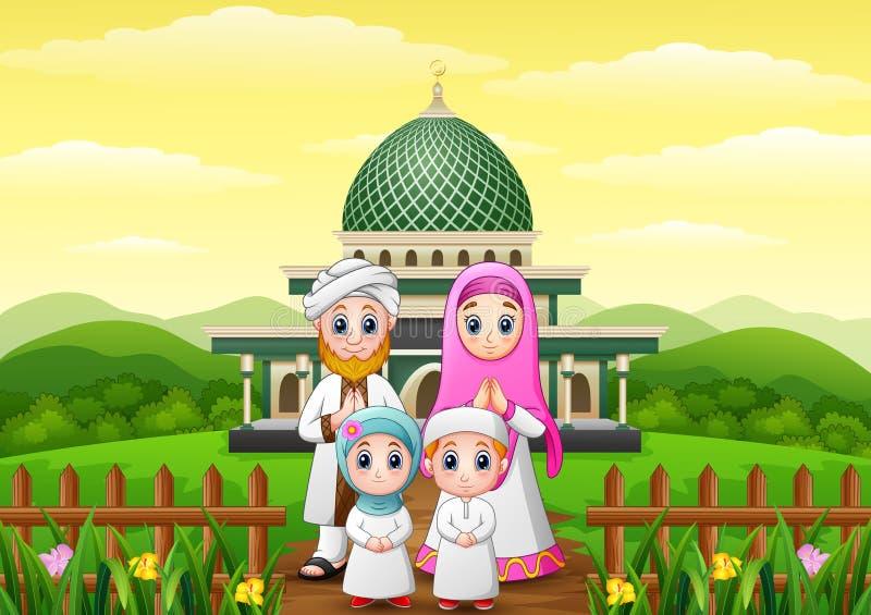 Les bandes dessinées heureuses de famille célèbrent pour l'eid Mubarak avec la mosquée dans la forêt illustration de vecteur