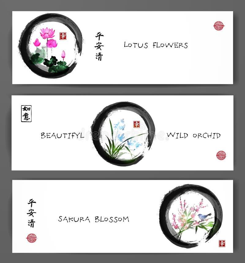 Les bannières avec les fleurs de lotus, l'orchidée sauvage et Sakura fleurissent en cercle de zen Sumi-e oriental de peinture, u- illustration stock