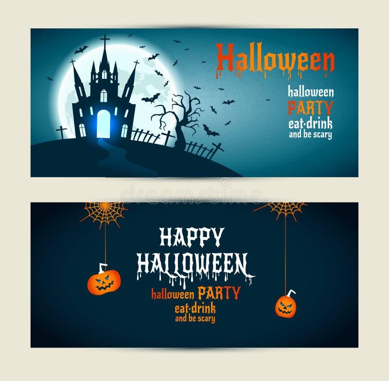 Les bannières de Halloween ont placé sur le fond bleu et bleu-foncé Invitatio illustration stock