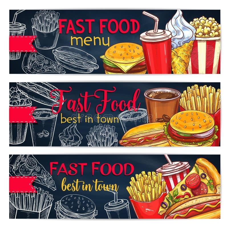 Les bannières de vecteur ont placé pour le menu de restaurant d'aliments de préparation rapide photographie stock libre de droits