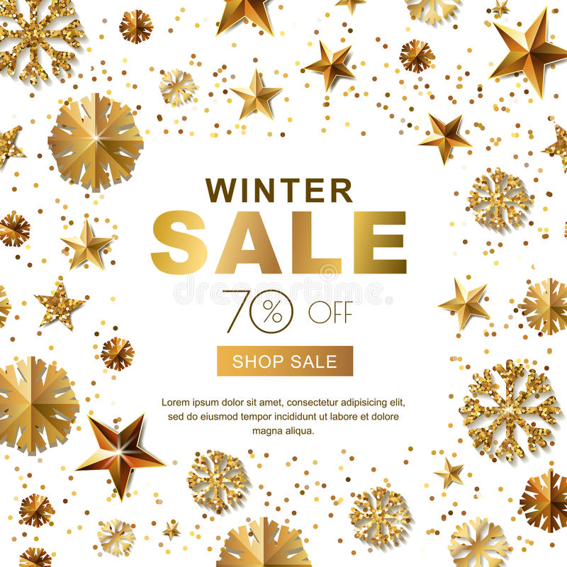 Les bannières de vente d'hiver avec de l'or 3d se tient le premier rôle et des flocons de neige Dirigez l'affiche de vacances d'h illustration de vecteur
