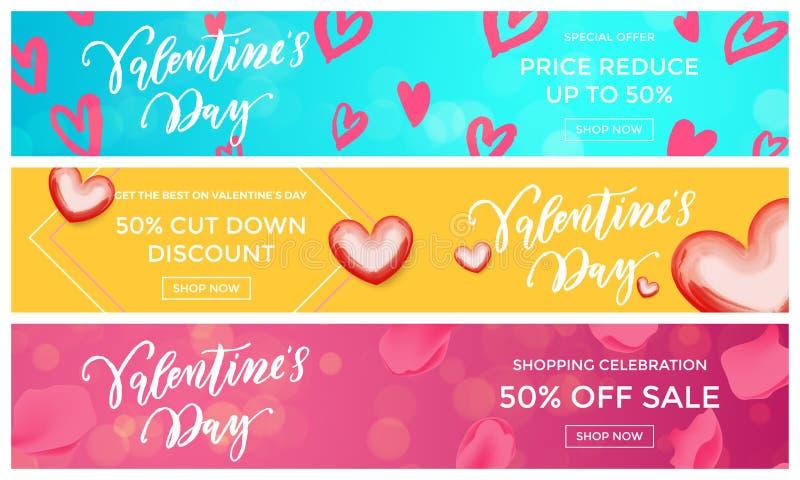 Les bannières de vente de Valentine conçoivent le modèle rouge de coeur de calibre sur le fond floral Disco de saison d'achats de illustration de vecteur