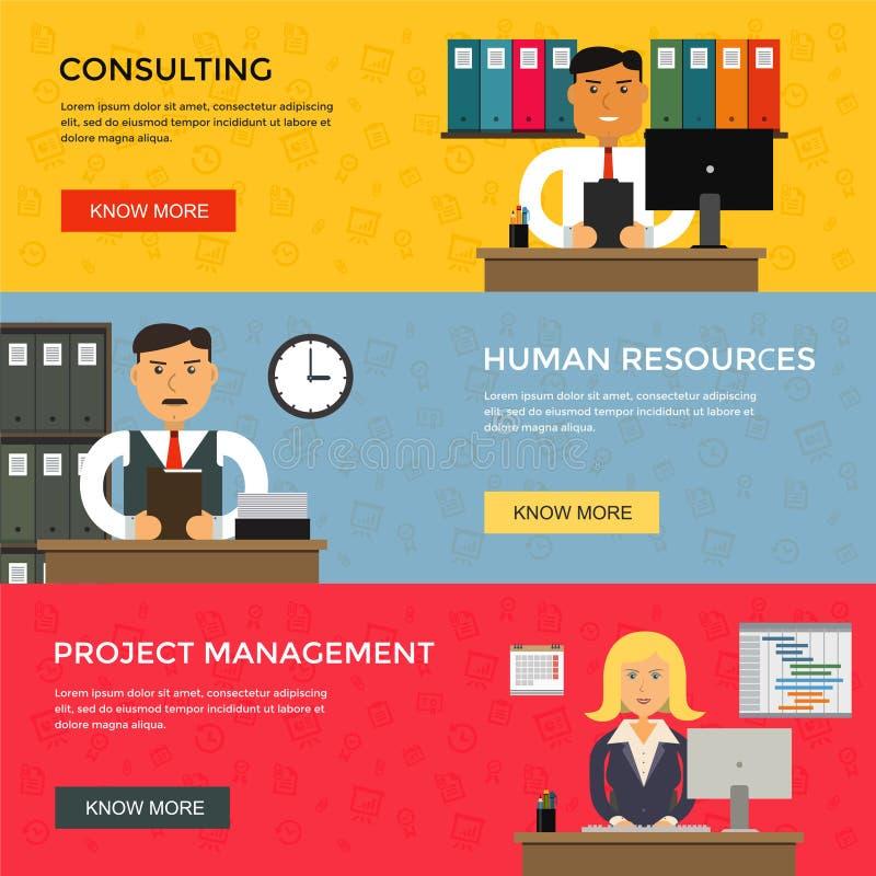 Les bannières de Web pour des affaires fonctionnent, commencent et illustration stock