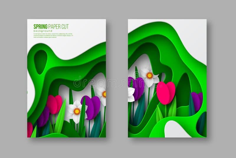 Les bannières florales de ressort, papier ont coupé découper l'art illustration de vecteur