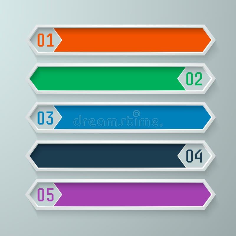 Les bannières graphiques d'infos ont placé dans un modèle de diamant dans des couleurs chaudes photo stock