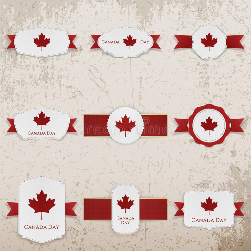 Les bannières heureuses de papier de jour de Canada avec la salutation textotent illustration de vecteur