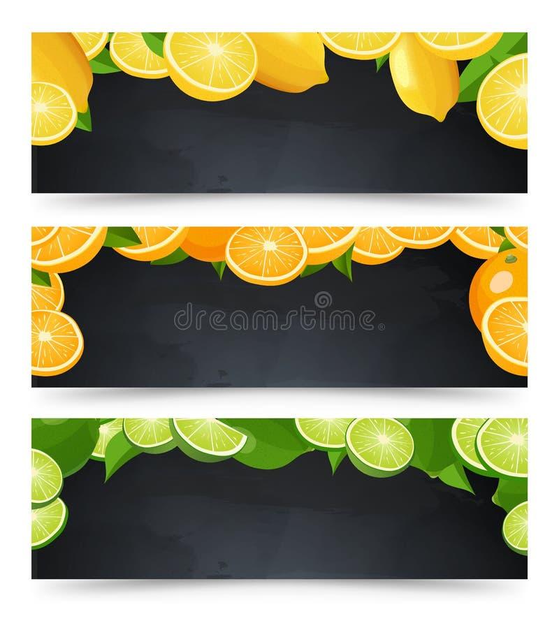 Les bannières horizontales de publicité ont placé avec le tableau noir et les agrumes illustration libre de droits