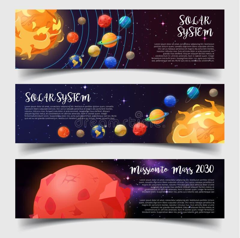 Les bannières pour le système solaire, astronomie, trouble la mission illustration de vecteur