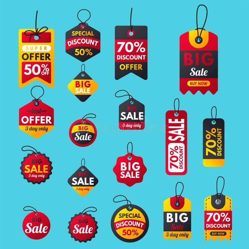 Les bannières rouges de bonification supplémentaire superbe de vente textotent des affaires de label illustration libre de droits