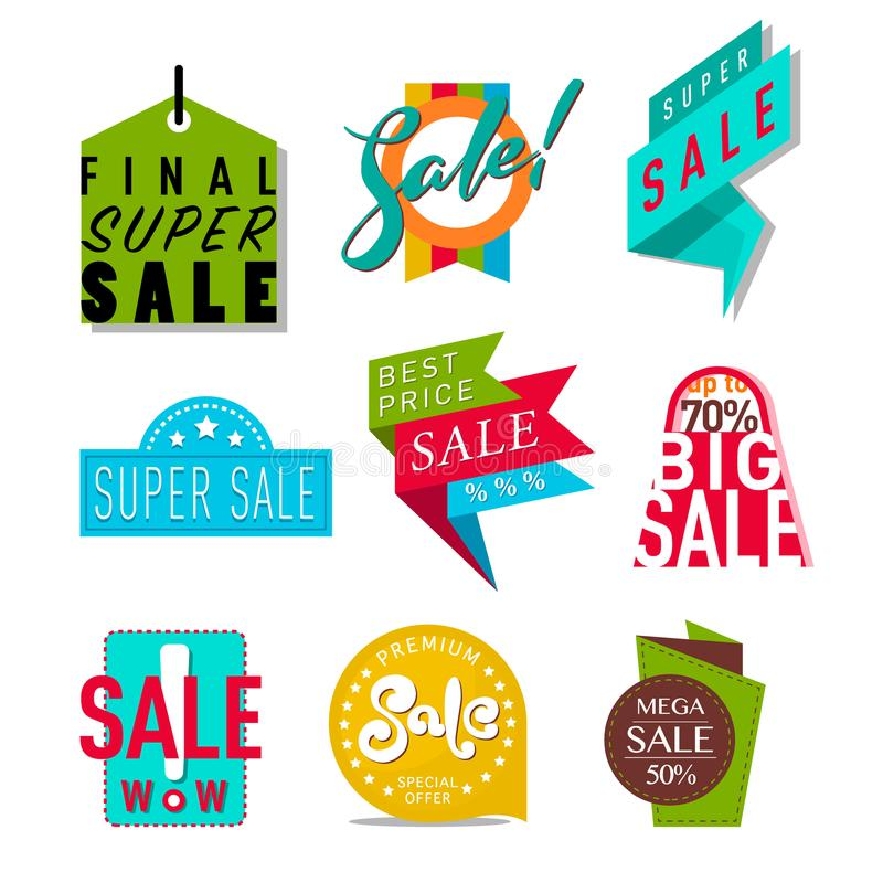 Les bannières supplémentaires de bonification de vente superbe textotent en couleurs l'illustration de vecteur de promotion d'Int illustration de vecteur