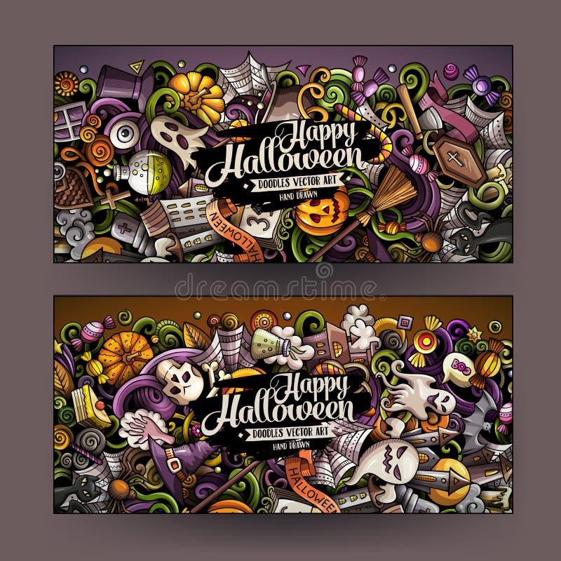 Les bannières tirées par la main de Halloween de griffonnages de vecteur coloré mignon de bande dessinée conçoivent illustration stock