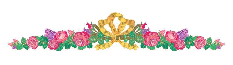 Les banni?res orientales abstraites de rubans fleurissent l'illustration de branches de guirlande illustration stock