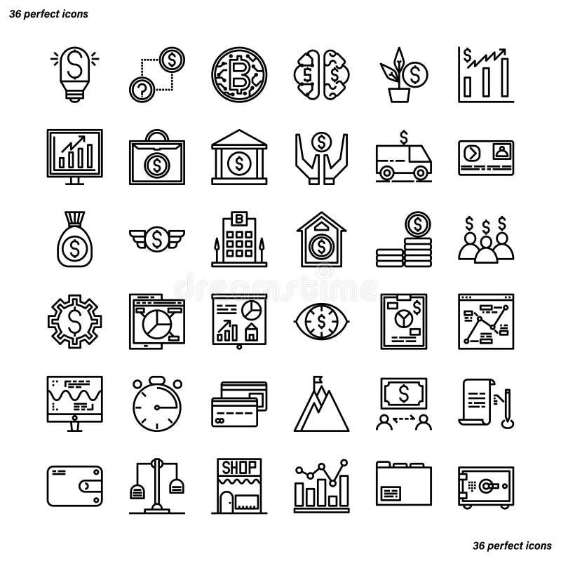 Les banques et les icônes financières d'ensemble perfectionnent le pixel illustration de vecteur