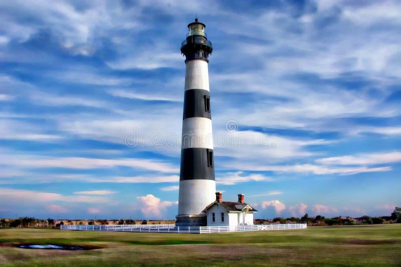 """Les banques externes """"phare de Bodie Island est @50 """"plus courts que son phare de Hatteras de voisin photo libre de droits"""