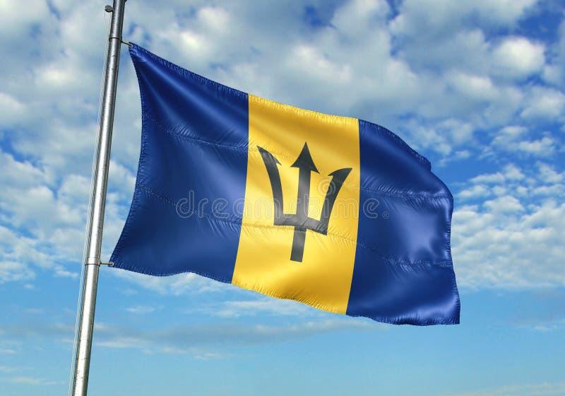 Les Barbade marquent l'ondulation avec le ciel sur l'illustration 3d réaliste de fond illustration de vecteur