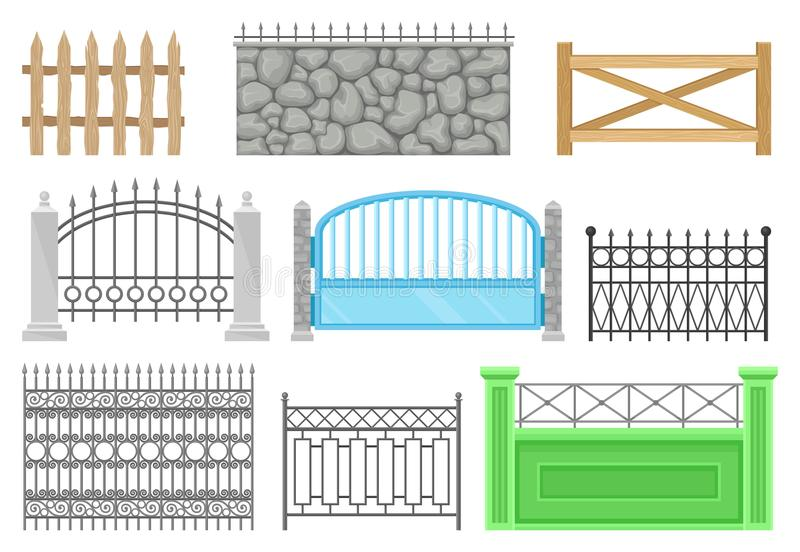 Les barrières de différents structures et matériaux ont placé, barrière protectrice pour la ferme, maison, jardin, illustrations  illustration libre de droits