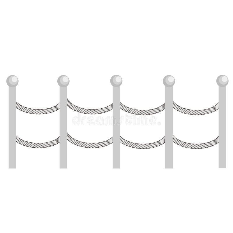Les barrières rurales en métal de corde, piquets dirigent Brown silhouette la barrière pour l'illustration de jardin illustration de vecteur