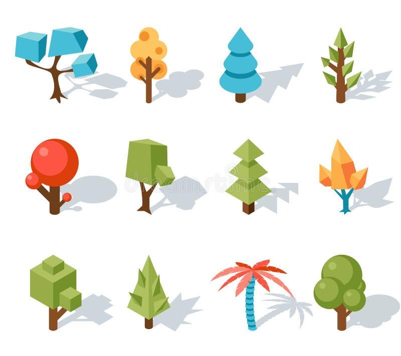 Les basses poly icônes d'arbre, dirigent 3D isométrique illustration de vecteur