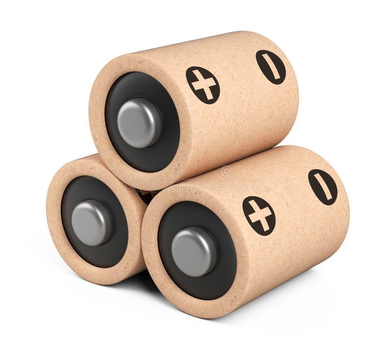 Les batteries d'Eco amassent ont fait à partir des composants naturels et du papier réutilisé Concept vert d'énergie illustration stock