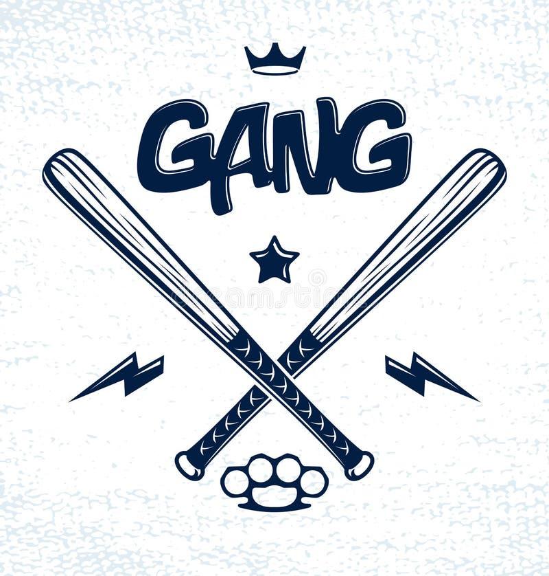 Les battes de baseball ont croisé le logo de bande criminelle de vecteur ou le signe, style de bandit illustration de vecteur