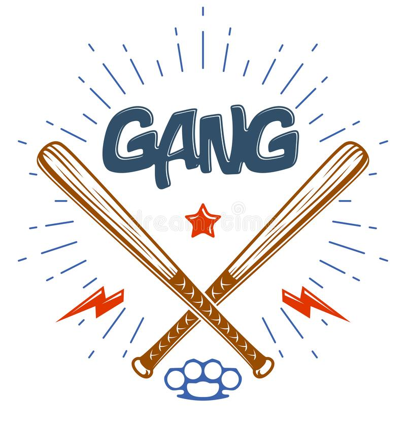 Les battes de baseball ont croisé le logo ou le signe de bande criminelle de vecteur illustration libre de droits