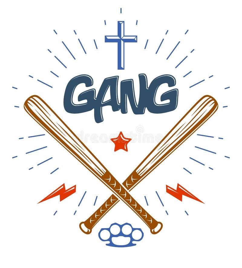 Les battes de baseball ont crois? le logo ou le signe de bande criminelle de vecteur illustration stock