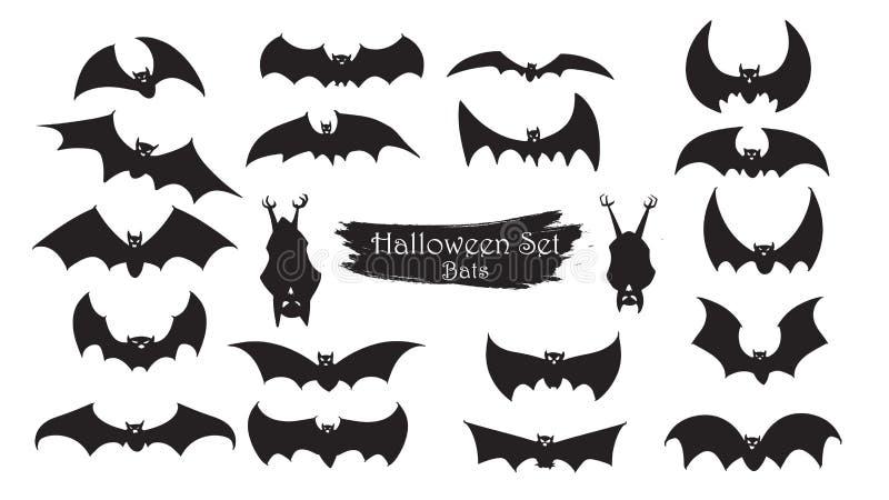 Les battes fantasmagoriques silhouettent la collection de Halloween o d'isolement par vecteur illustration stock