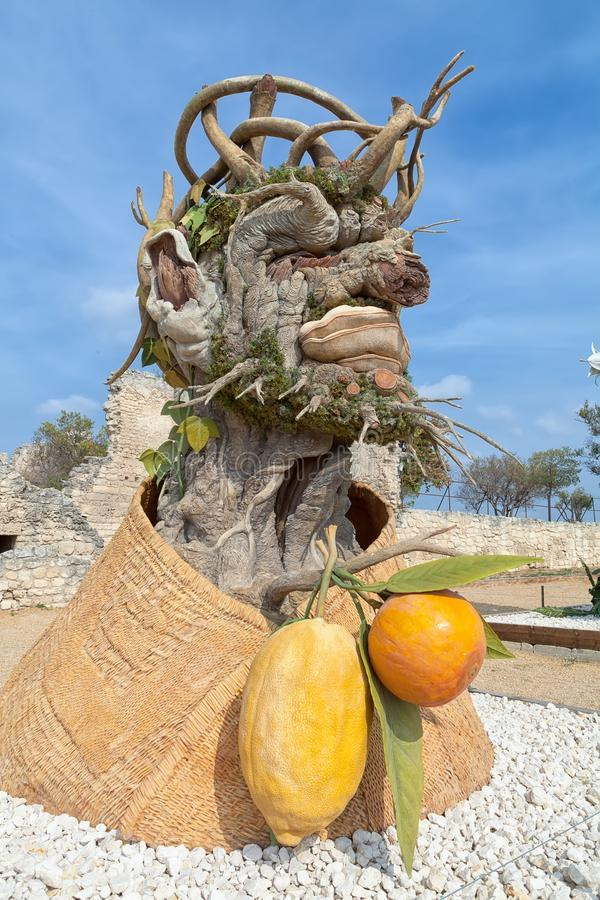 The Four Seasons` is a sculpture series of four giant heads, each representing a season of the year. Artist Philip Haas royalty free stock photo