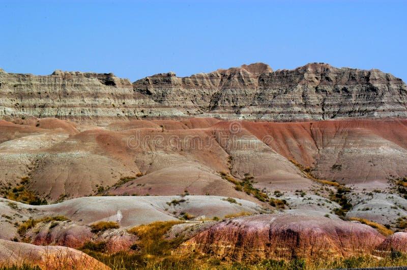 Les beaux bad-lands le Dakota du Sud a certaines des roches et des couches les plus colorées de sédiment image stock