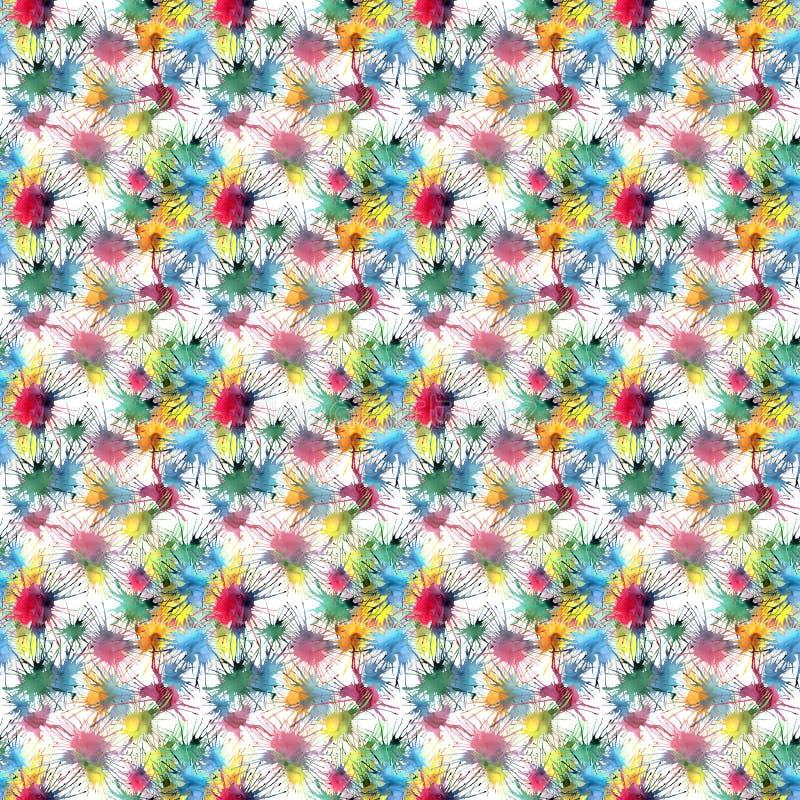Les beaux beaux taches et filets colorés abstraits mignons graphiques artistiques lumineux modèlent l'aquarelle illustration libre de droits