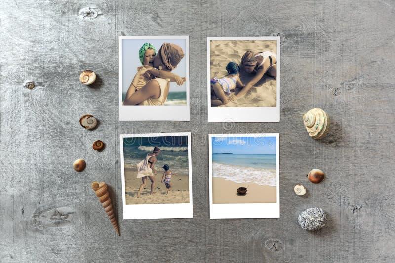 Les beaux instantanés de bord de la mer ont arrangé sur le fond en bois rustique avec des coquillages autour image stock