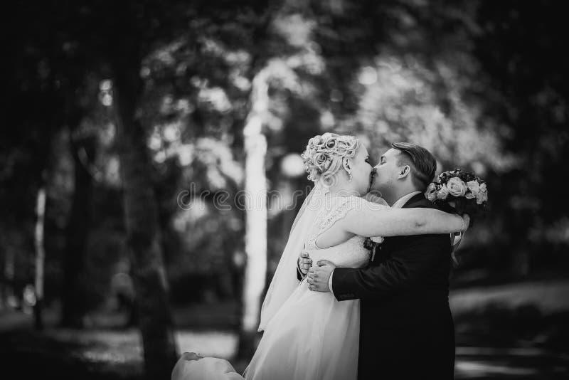 Les beaux jeunes couples de photographie blanche noire se tiennent sur la forêt de fond image libre de droits