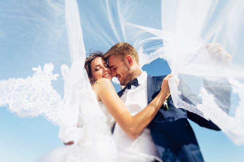 Les beaux jeunes mariés image stock