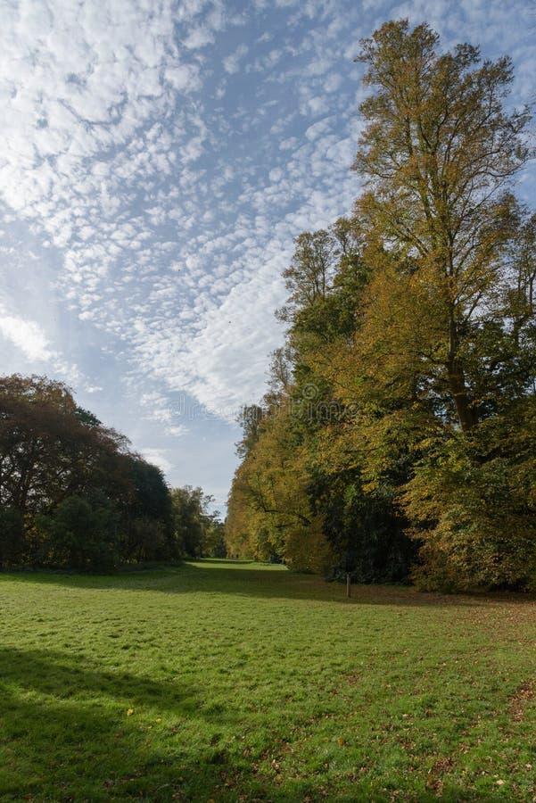 Les beaux nuages diffèrent des couleurs d'automne au parc de Nowton image stock