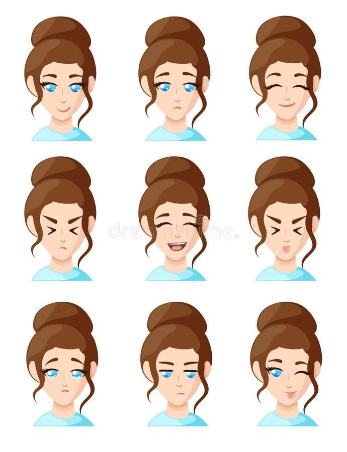 Les beaux visages de femme de bande dessinée montrant l'ensemble différent d'icône d'emoji d'émotion de femme d'émotions pour la  illustration libre de droits