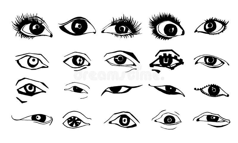 Les beaux yeux de femme dirigent le dessin d'encre Illustration Ensemble noir de blanc illustration libre de droits