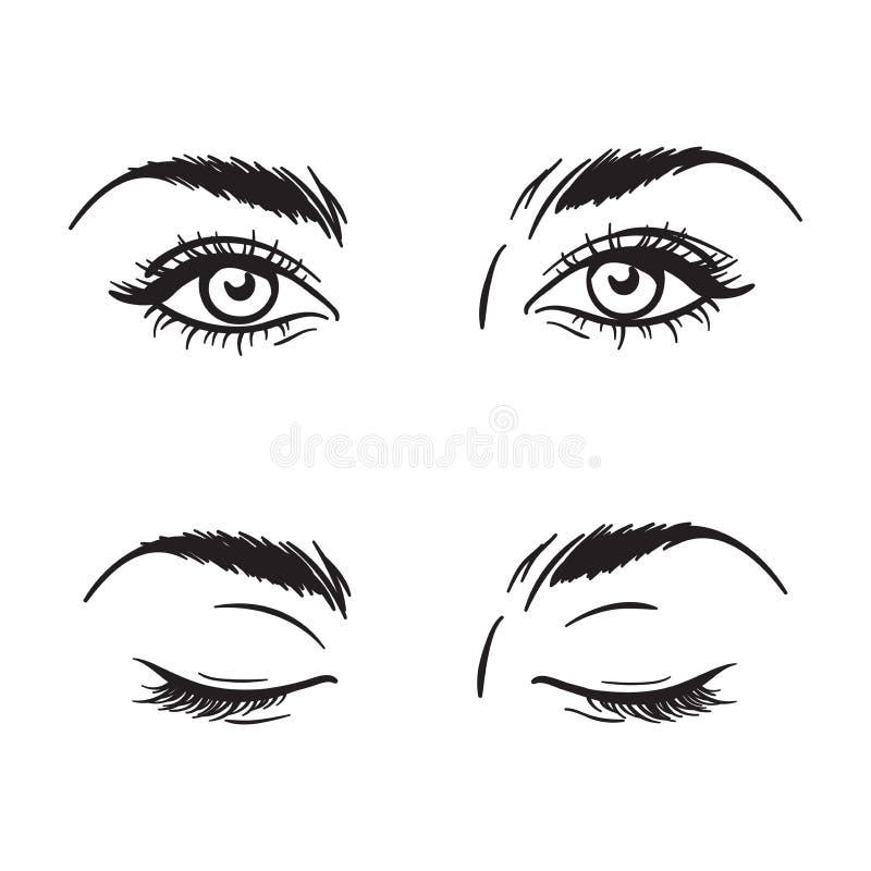 Les beaux yeux femelles noirs et blancs d'isolement ont placé l'illustration de vecteur illustration libre de droits
