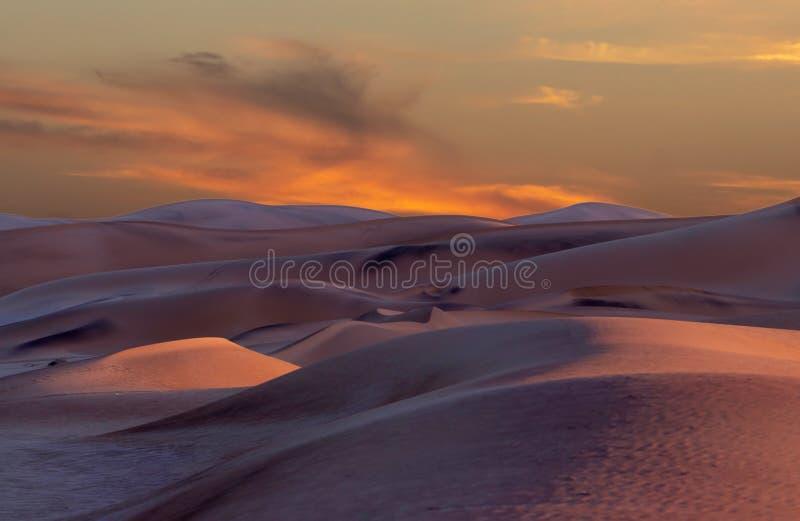Les belles dunes de sable aménagent en parc au lever de soleil dans le désert de Namib image libre de droits