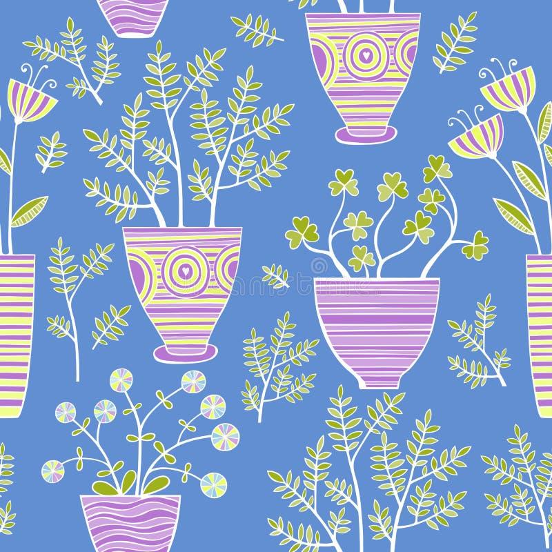 Les belles fleurs dans des pots, dirigent le modèle sans couture illustration de vecteur