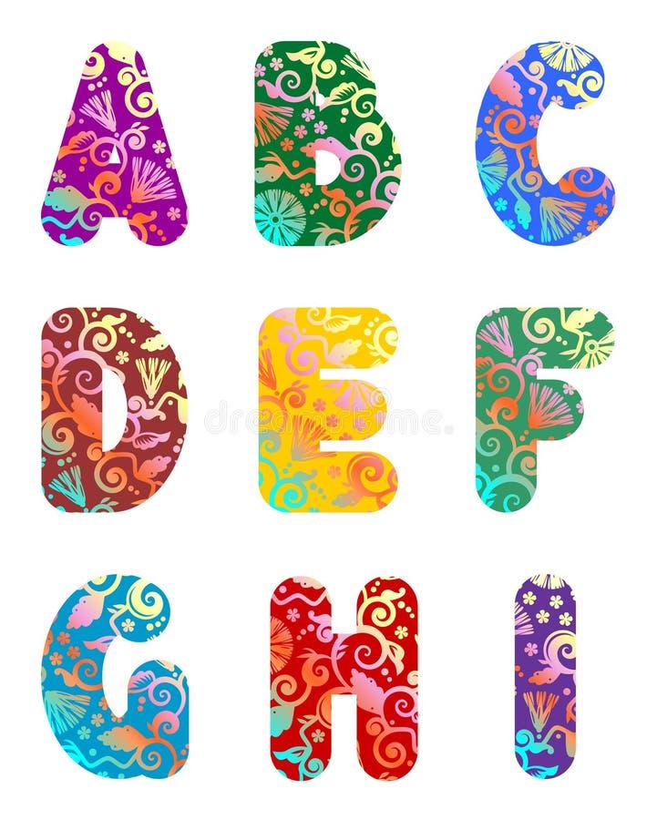 les belles lettres de 1 alphabet pièce le positionnement illustration de vecteur